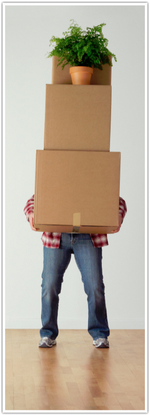 Man holding storage boxes
